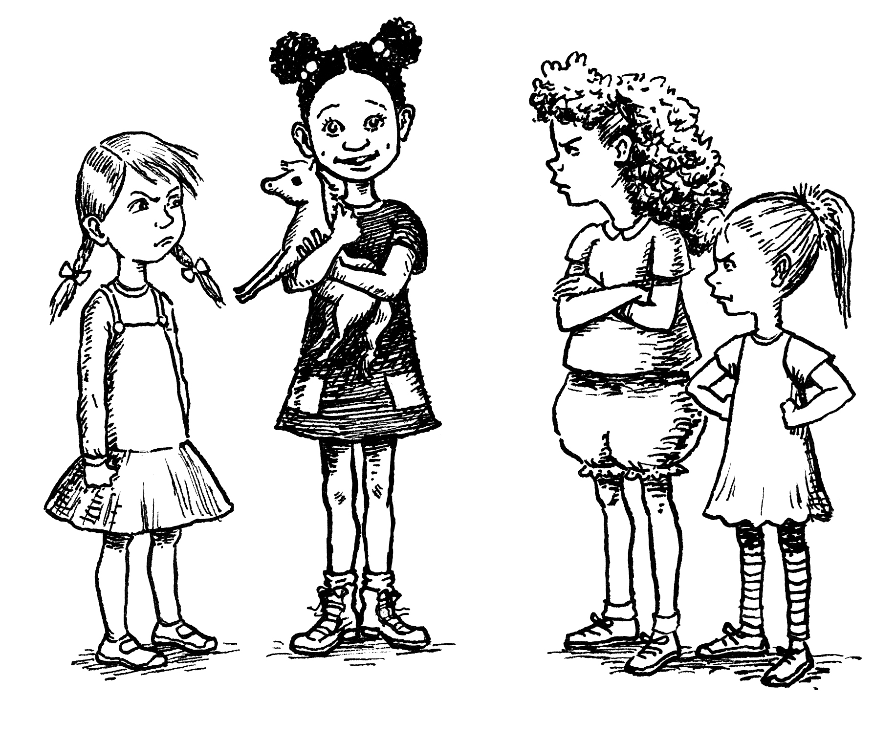 Kids Sharing Clipart Black And White Child-directed ...