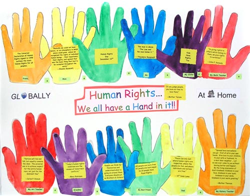 Human rights are children's work, too. Poster by Anna, a middle schooler.
